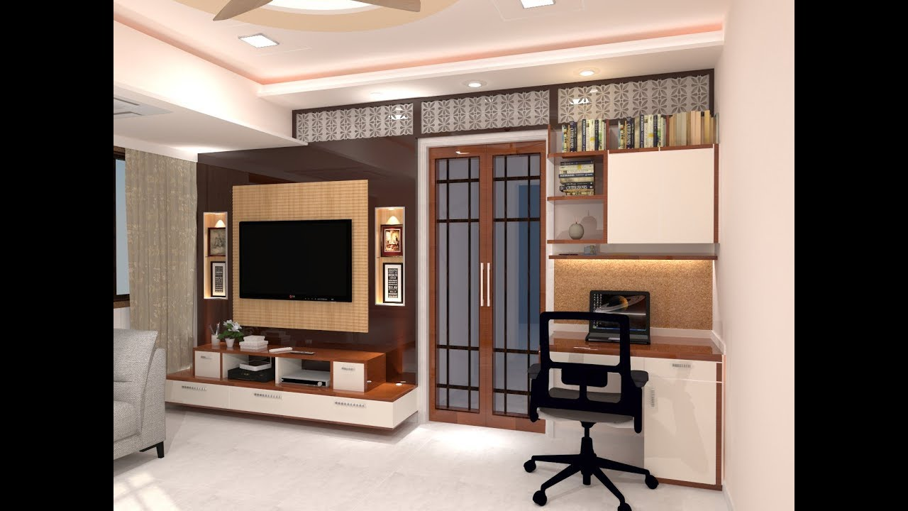 Living Room And Kitchen Design For 1 Bhk Flat Sketchup Youtube