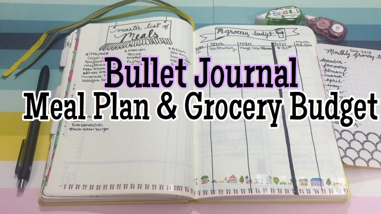 Bullet Journal Meal Plan Grocery Budget Collection Jan 2017 I