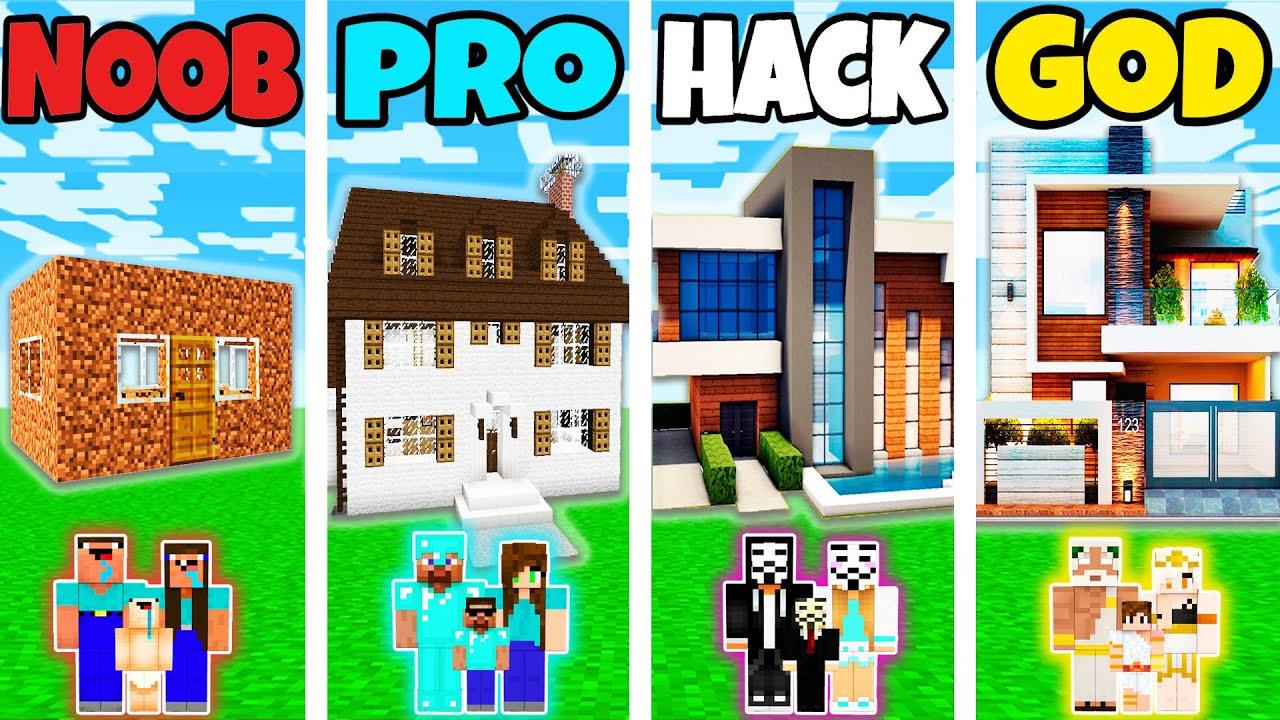 Download Minecraft: FAMILY HOUSE BUILD CHALLENGE - NOOB vs PRO vs HACKER vs GOD in Minecraft