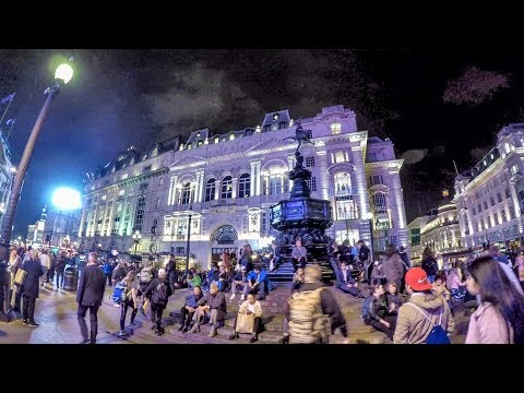 London Night Walk. Oxford Circus to Piccadilly Circus Along