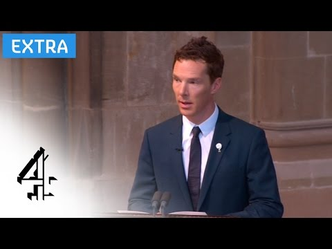 Benedict Cumberbatch reads the poem 'Richard' at the Richard III reburial service | Channel 4