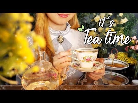 ASMR Peaceful Garden Teatime with You☕ birds singing, flowing water sound