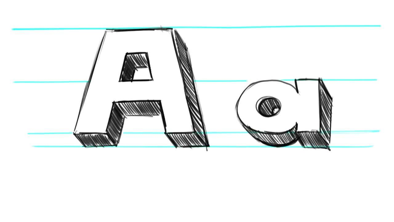 How to Draw 3D Letters A - Uppercase A and Lowercase a in 90 Seconds ...