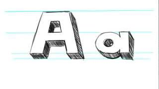 How to Draw 3D Letters A - Uppercase A and Lowercase a in 90 Seconds