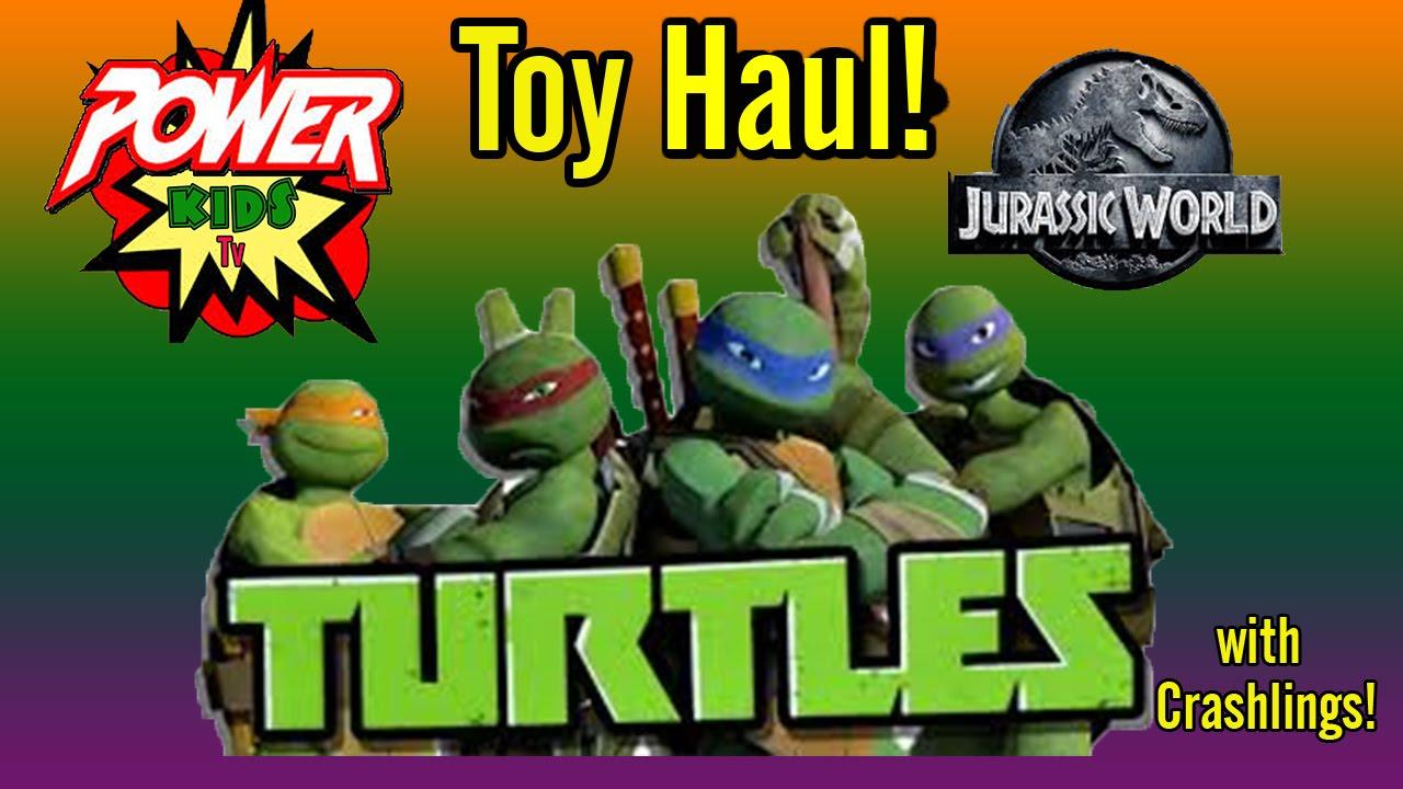 ninja turtles and jurassic world brawlasaurs toy haul
