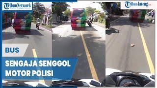 Bus Dikejar Sengaja Senggol Motor Polisi hingga Terjatuh