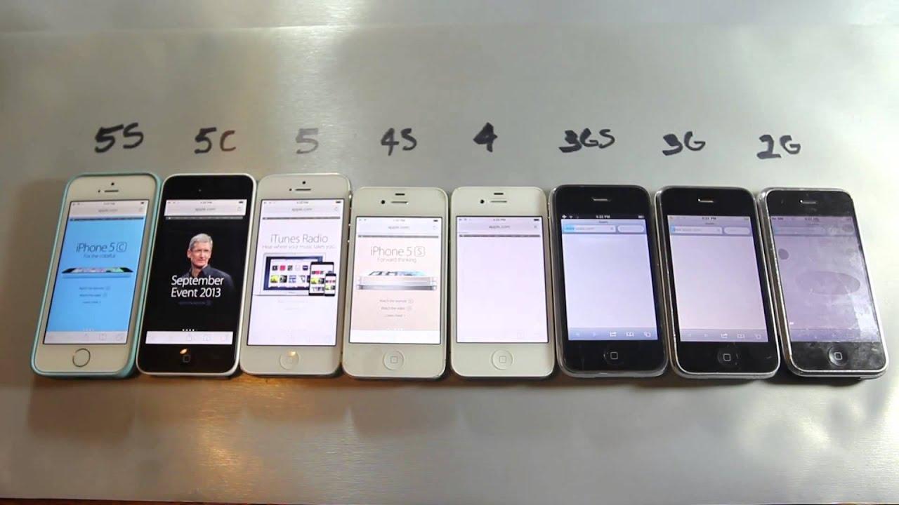 IPhone 5S Vs 5C 5 4S 4 3Gs 3G 2G Speed Test