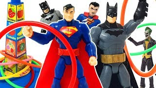 When Superman and Batman throw a color ring, their appearance changes. ❤️ Rachaman Toy