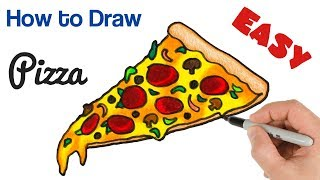 How to Draw a Pizza Slice Easy Coloring for Kids