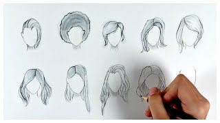 10 Girl Hairstyles / How to draw hair easy step by step / Satisfying Art #35