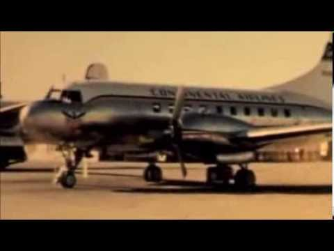 Continental Airlines Convair 240 Aircraft Taking Off & Landing