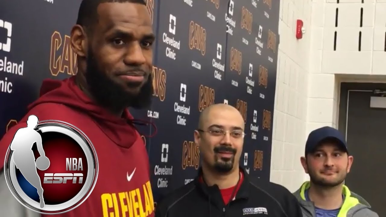 size 40 cb551 7bfbc [FULL] LeBron James calls out reporter for wearing Cleveland Browns jersey  | NBA on ESPN