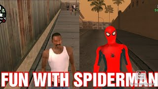FUN SPIDERMAN IN GTASA ANDROID HAHHAA