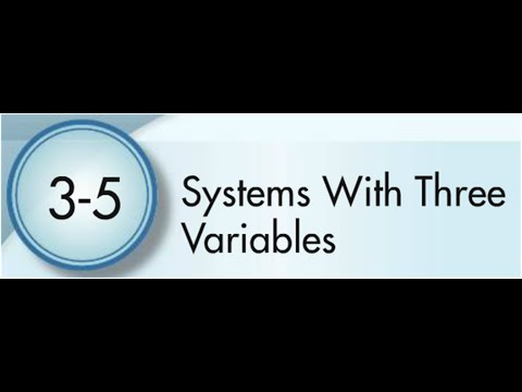3-5 Systems Of Equations With 3 Variables