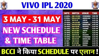 IPL 2020  NEW SCHEDULE & TIME TABLE : BCCI GIVES 4 BIG UPDATES ON IPL 2020 NEW SCHEDULE