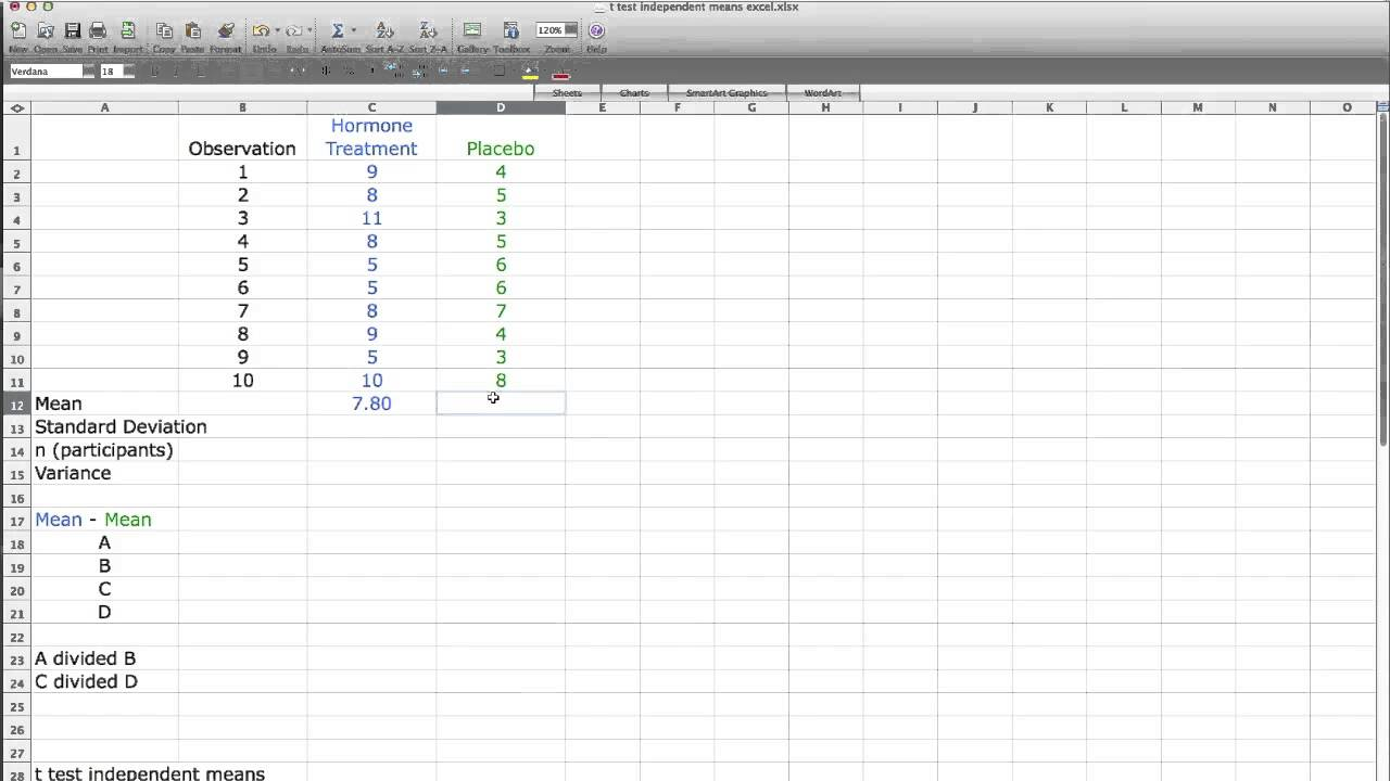 how to use t test in excel