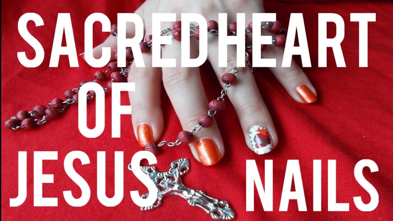Sacred Heart Of Jesus Nail Art,,,,,Freehand,,,,DIY Tools,,,,,Pencil ...