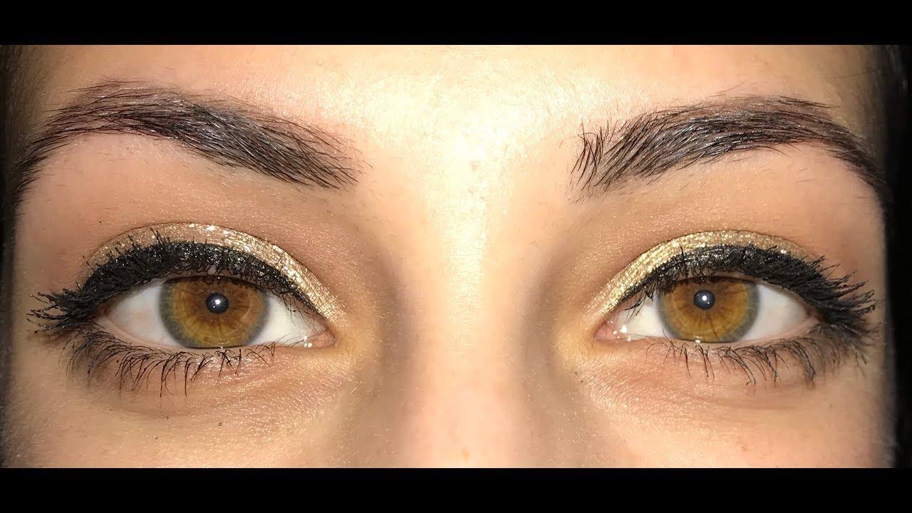 gold eye makeup look (best for hazel eyes)