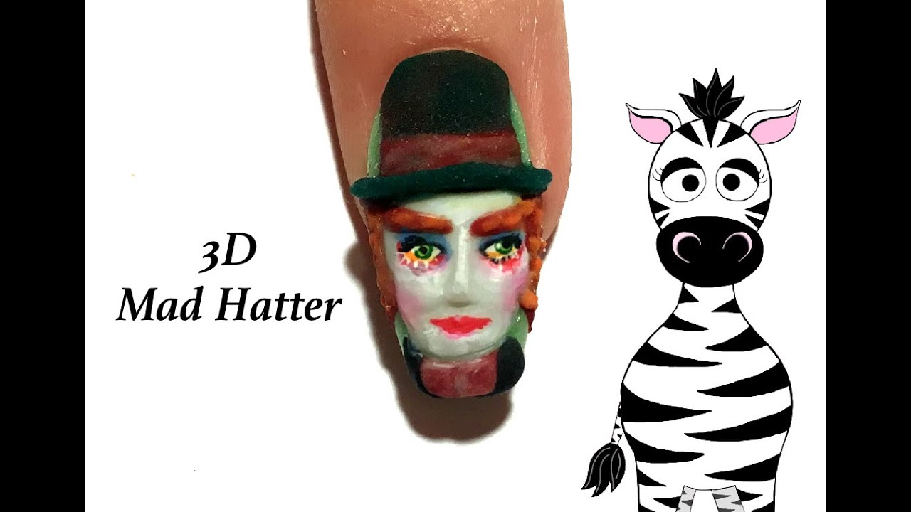 3D The Mad Hatter Acrylic Nail Art Design Tutorial | Alice Through ...