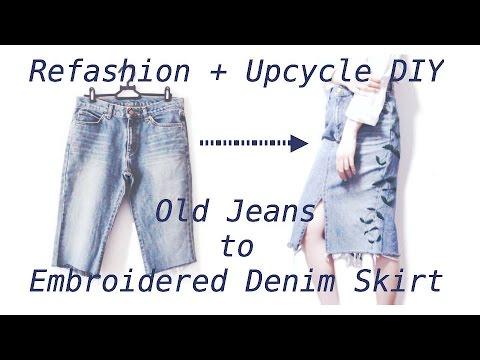 Refashion DIY Old Jeans to Embroidered Denim Skirt / ジーンズ  ✂️ リメイクファッション / Sewing Tutorialㅣmadebyaya