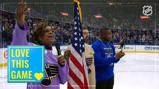 Blues fans join Eva Millar-Galvan for incredible anthem on Veterans Day