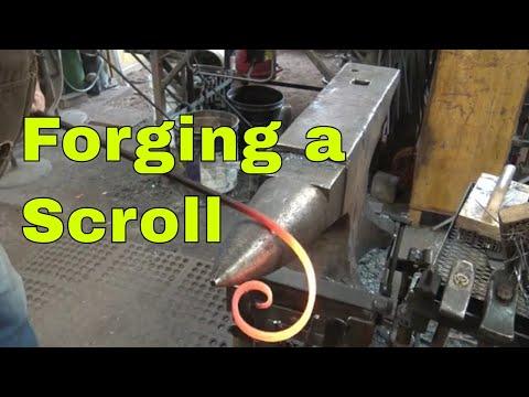 Forging a ribbon scroll - window grill project
