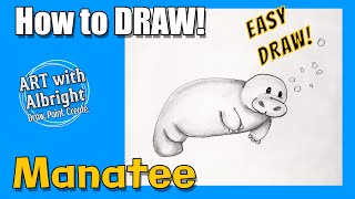 How to draw an Easy Manatee ~ Art With Albright ~ (Step by Step)