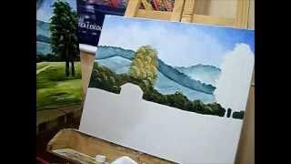 Pintar árvores e vegetação que ficam em segundo plano na paisagem