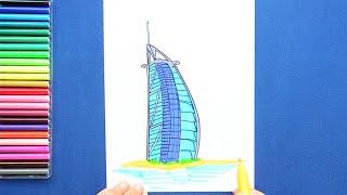 How to draw and color Hotel Burj Al Arab, Dubai