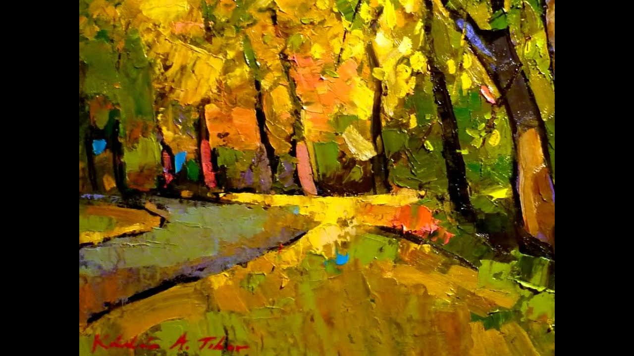 Oil Painting Autumn Landscape By Kadar A Tibor
