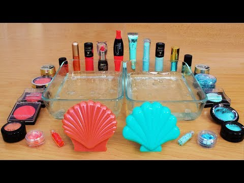 Coral Vs Aqua - Mixing Makeup Eyeshadow Into Slime! Special Series Part 58 Satisfying Slime Video