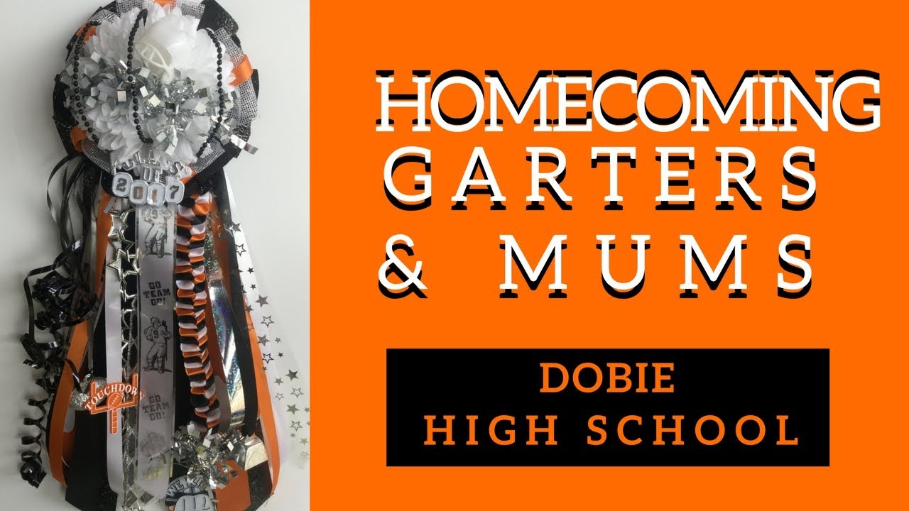Dobie Homecoming Mums Orange And Black Football Garters For