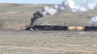 Union Pacific Big Boy #4014 & Living Legend #844 Make An Unscheduled Stop @ Carter, Wyoming (5/6/19)