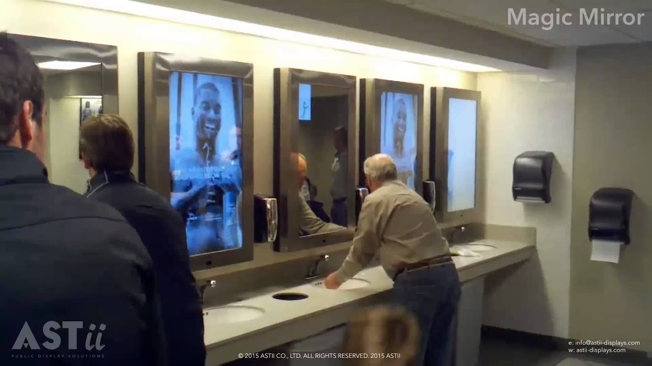 Advertising magic mirror display youtube for Mirror screen