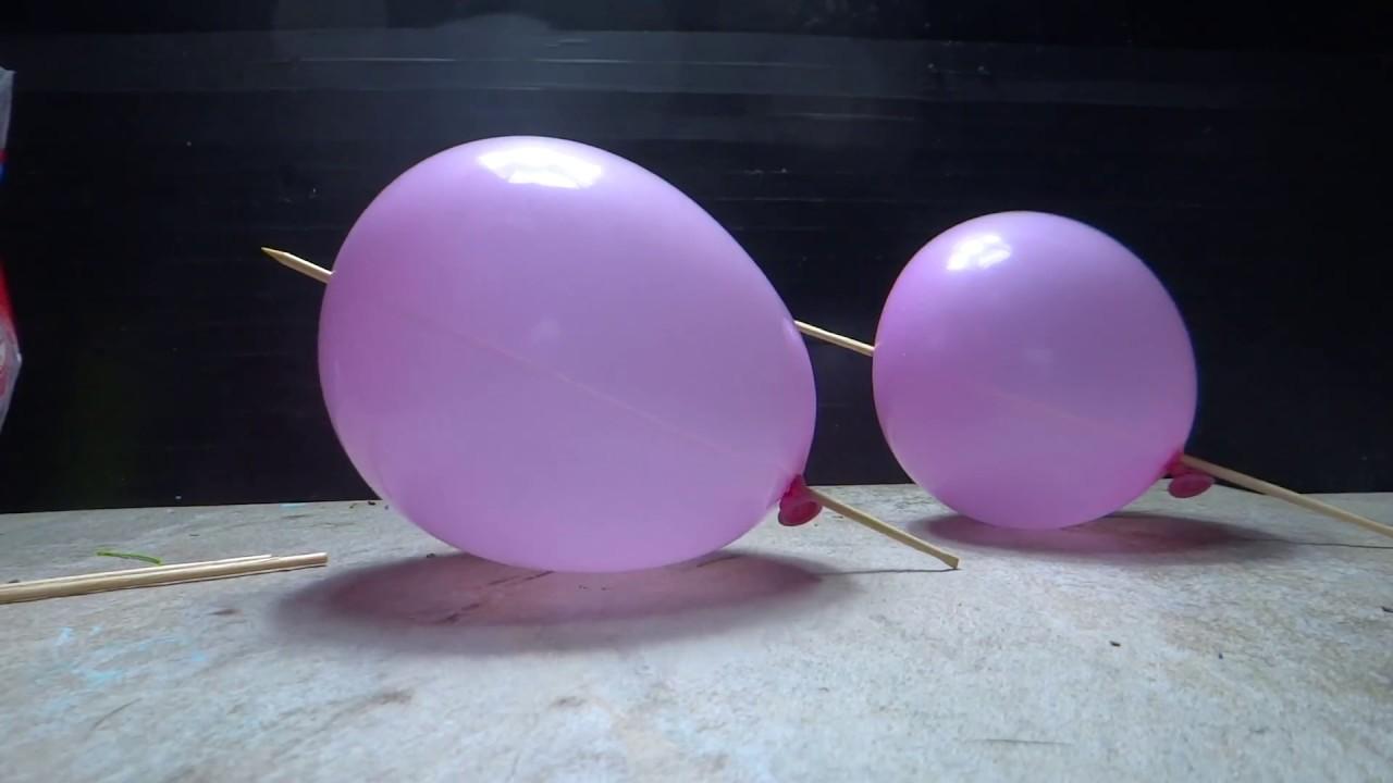 53fa038d014 Furando um balão sem estourar (palito churrasco) - YouTube