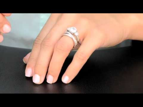 Crossed Wedding Bands.Renalde S Engagement Ring Katherine S Cubic Zirconia Double Row Crossed Anniversary Ring