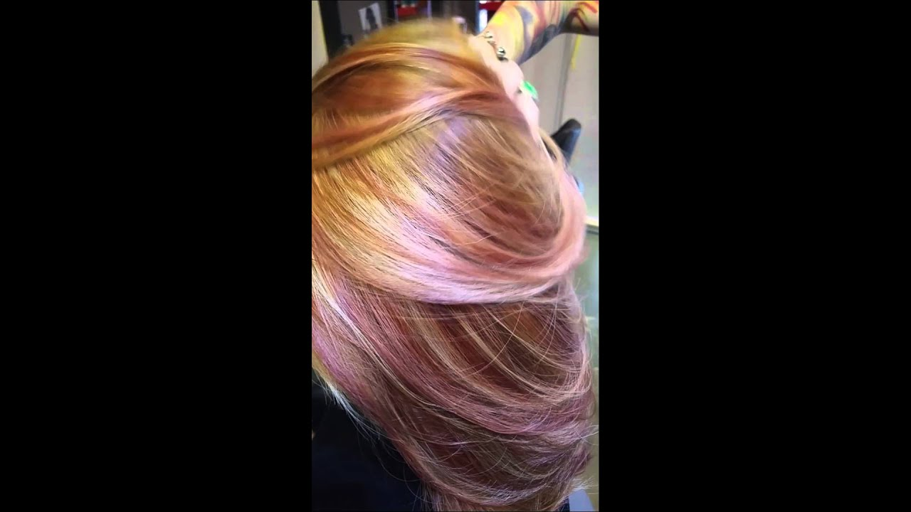 Hair Color Asian Copper Red Blonde Highlights Youtube