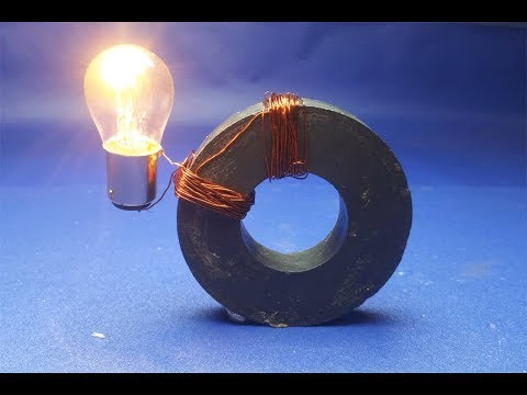 Experiment Copper Wire Generator , Free Energy Magnet , light bulbs 12v