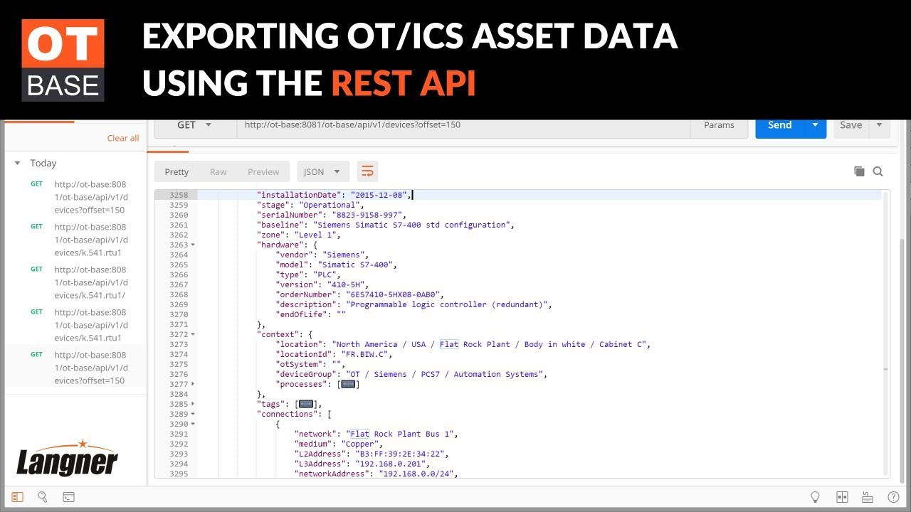 OT/ICS inventory REST API & JSON integration | OT-BASE