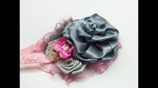 Como hacer una flor con liston, Flor grande manera facil de elaborar