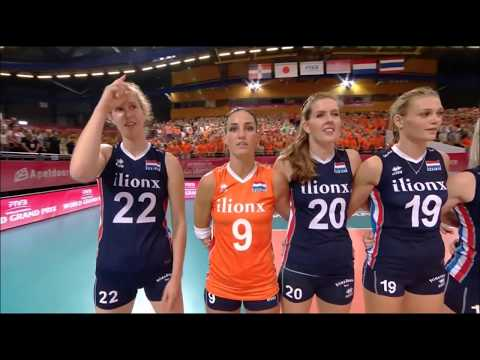 Volleyball: Thailand's and Netherlands' players sing the national anthems