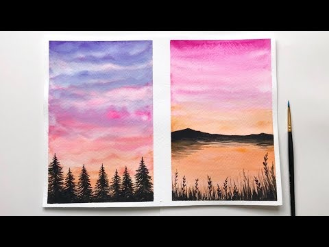 watercolor sunset tutorial for