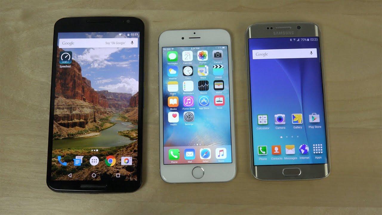 nexus 6 android 6 0 marshmallow vs iphone 6 ios 9 vs samsung galaxy s6 edge youtube. Black Bedroom Furniture Sets. Home Design Ideas