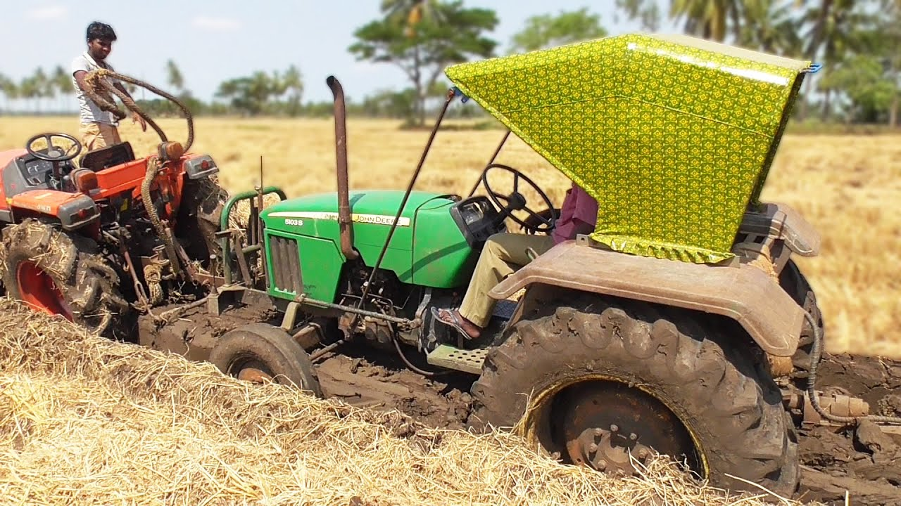 John Deere Troubling To Pulling A Trolley | JD 5103 + Kubota L3408 | Tractor Videos | SWAMI Tractors
