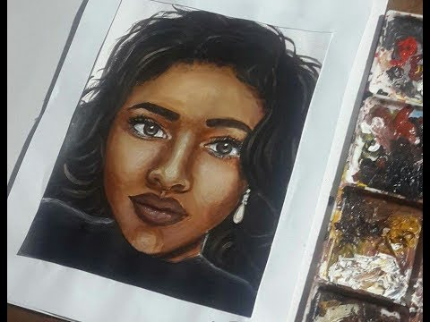 how-to-paint-a-portrait-in-acrylics-timelapse---dark-skin-tone,-semi-realistic