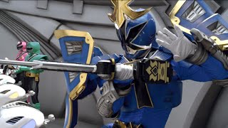 Kevin uses the Shogun Battlizer to morph into the Blue Shogun Range...