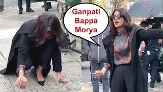 Priyanka Chopra Breaks Coconut On Street Of London At The Sky Is Pink Set