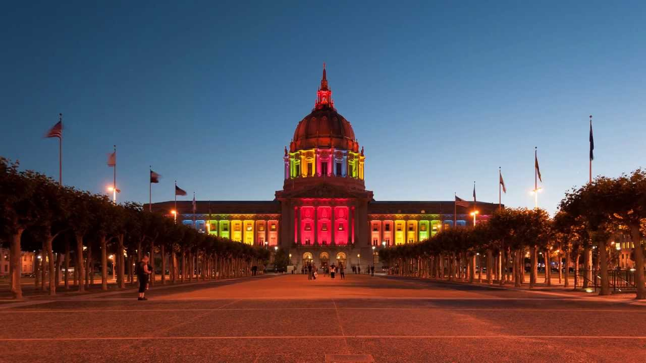 City Hall San Francisco Rainbow Colors in 20 seconds time ...