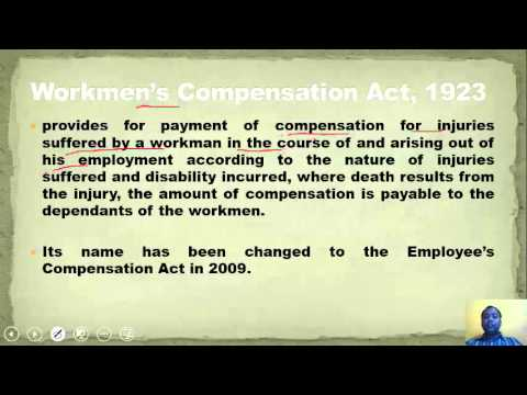 the workmen s compensation act 1923 Workmens compensation act, 1923 chapter: preliminary section 1: short title, extent, and commencement (1) this act may be called the workmen's compensation act,1923.