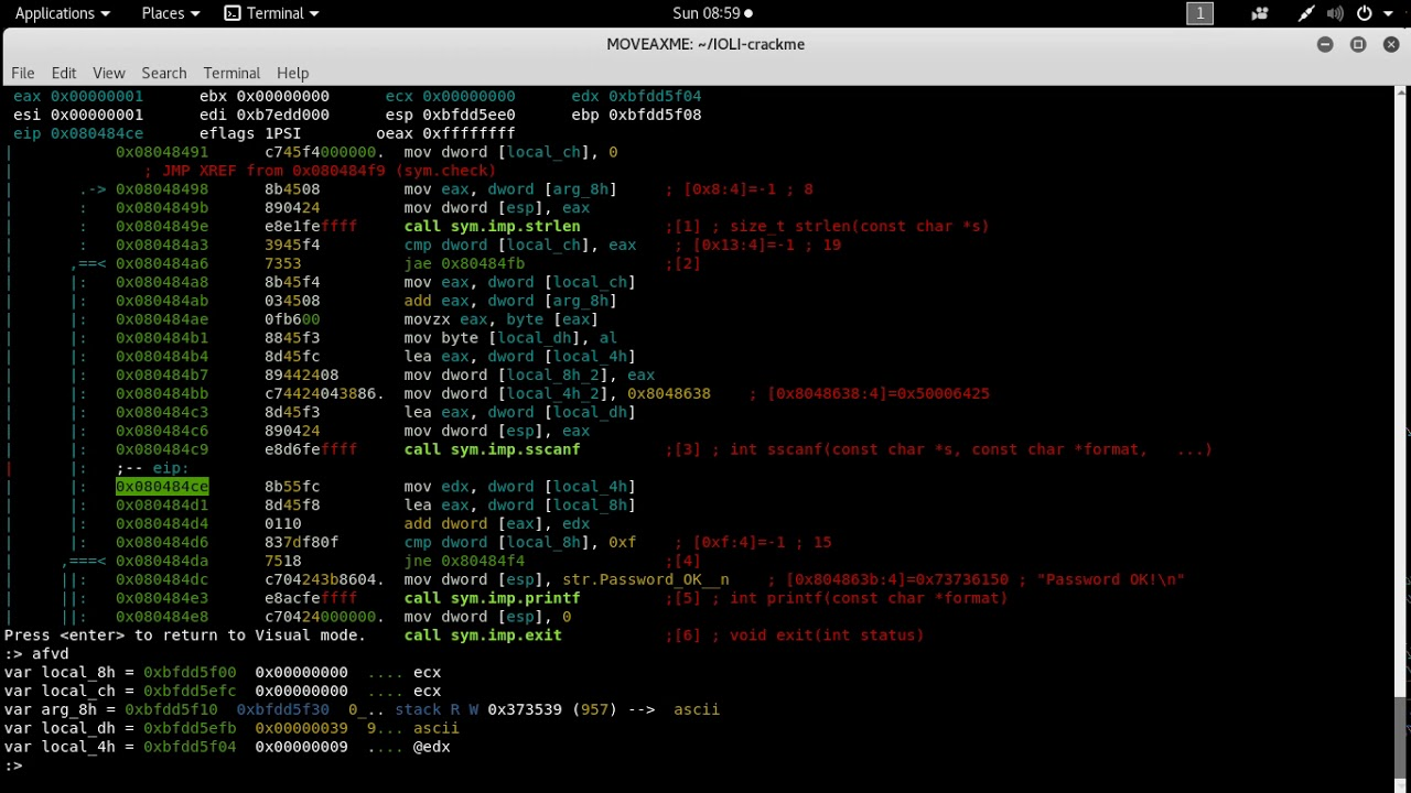 Crackme0x04 Dissected with Radare2 - MOVEAX ME